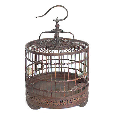 Antique Chinese Carved Bamboo Bird Cage Ming Porcelain Feeder Bone Calligraphy
