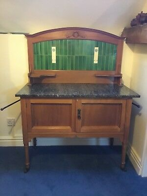 Antique Arts & Crafts Dark Marble Topped Satin Walnut Washstand with Towel Rails