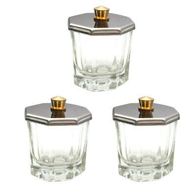 3pcs Beauticom Octagon Shaped Glass Dappen Dish with Stainless Steel Metal Lid