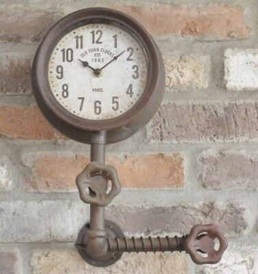 Industrial Vintage Style Wall Clock Rustic Metal Pipe Design Home Decor Gift