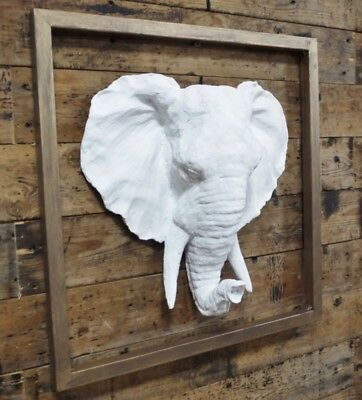 New Wall Mounted Framed White Elephant Head Sculpture Animal
