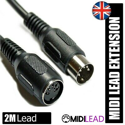 2M Metre Screened Midi Lead Extension 5 Pin Din Plug to Plug data Cable Lead