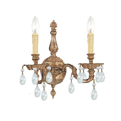 Crystorama 2502-OB-CL-MWP Cast Brass Wall Mount Hand Cut Crystal Wall Sconce