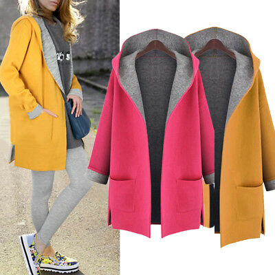 Women's Slim Trench Windbreaker Winter Woolen Jacket Coat Thick Parka Outwear