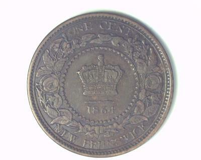 Canada New Brunswick 1864 Long 6 Type Large Cent Km#6 About Uncirculated ~339402