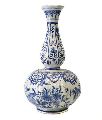 18th Century German Faience Vase, fluted mallet form, floral with exotic birds