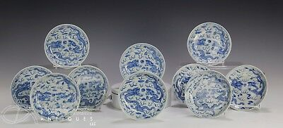 Set Of Ten Antique Chinese Blue And White Porcelain Plates With Drgaons