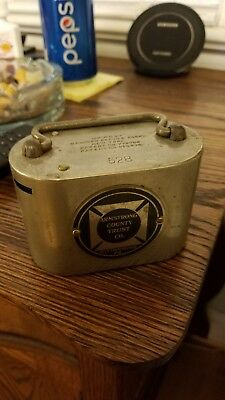 RARE 1900s PORTABLE SAFE METAL COIN/PAPER CURRENCY CHANGER/BANK