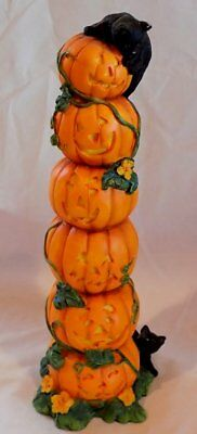 Lenox 2001 STACK O' PUMPKINS FIGURINE Featuring 2 BLACK KITTY CATS