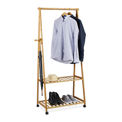 Clothes Stand Bamboo Coat Rack with Wheels, 2 Shelves, Rolling Wardrobe, 84 cm