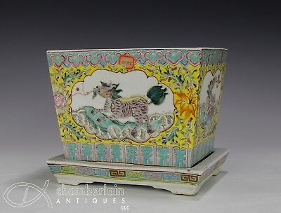 Old Chinese Enameled Porcelain Planter With Animals And Under Plate