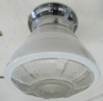 Vintage Art Deco Style Semi-Flush Ceiling Fixture Chrome White/Clear Shade