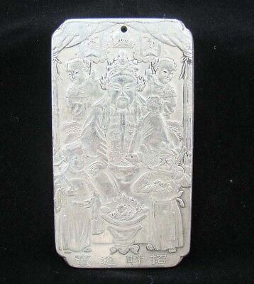 Collectable Handmade Carved Statue Tibet Silver Amulet Pendant Mammon