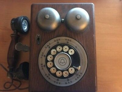 Vintage Western Electric Wooden Rotary Phone with original parts