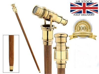 Wooden Walking Stick Brass Telescope Handle Foldebel Cane Dismantle In To Four