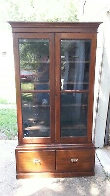 Antique furniture.Antique primitive china cabinet or cupboard.1 piece constructi
