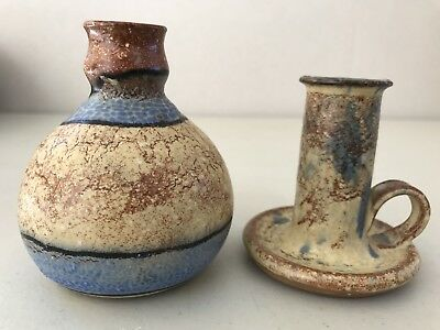 Vintage Australian Studio Red Pottery Candle Holder & Matching Vase Blue Beige
