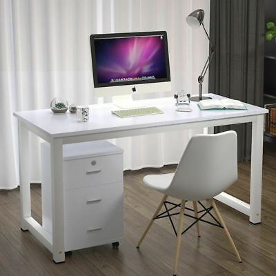 White Computer Desk Study PC Laptop Table Office Home Workstation Free Bookcase