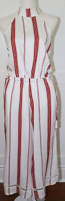 315a3be58df5 Faithfull The Brand Fleetwood Red White Halter Jumpsuit London Stripe Size 2