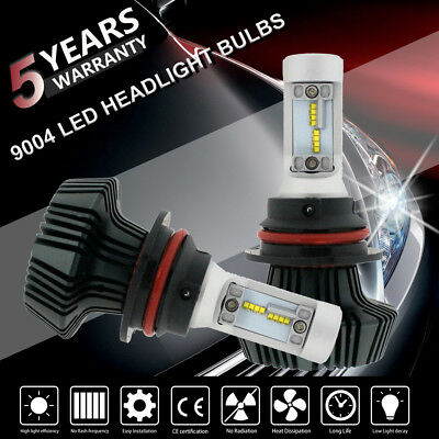 2x 72W 9004 LED Headlight Kit HB1 High Low Beam 8000LM 6500K Bulbs w/ Ballast