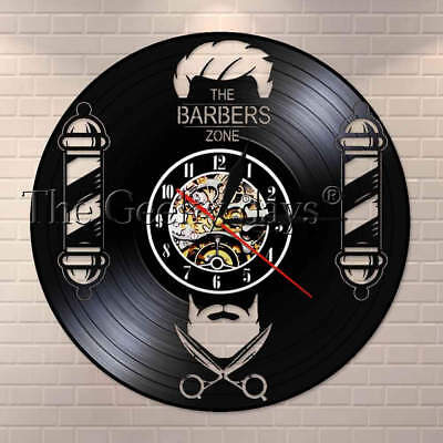 Barber Shop Sign Vinyl Record Wall Clock Decorative Gentleman Hairdresser Gifts