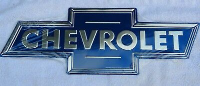 Chevrolet Blue And Chrome Embossed Metal Sign