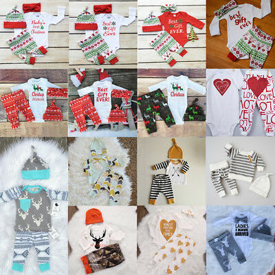 US Christmas Newborn Infant Baby Kids Boy Girls Romper Pants Outfits Set Clothes