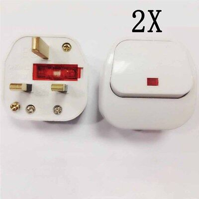 UK PLUG Mains Plug Top with switch on/off 13A Amp Fused Switched Neon Light 2pcs