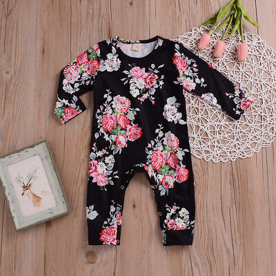US Newborn Baby Girl Floral  Romper Bodysuit Jumpsuit Winter Warm Outfit Clothes