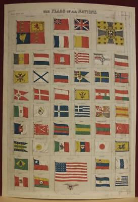 World Nations Flags 1873 Black Antique Original Colored Lithographic Chart