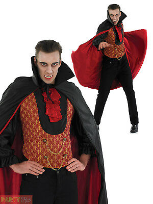 Mens Vampire Count Dracula Costume Adult Gothic Halloween Fancy Dress Outfit