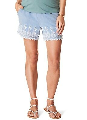 New - Esprit - Embroidered Cotton Maternity Shorts - Pregnancy