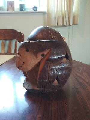 Vintage hand carved coconut shell monkey