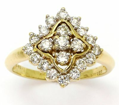 18ct Yellow Gold 0.585cts Diamond Cluster Ladies Dress Ring - Size K
