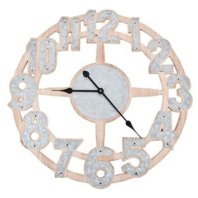 Wall Clock -vaganza- Vintage Design Holz-Zink 70x70cm Natural Decoration
