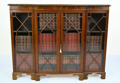 Antique / Mahogany Breakfront 4 Door Astragal Glazed Bookcase Circa 1900
