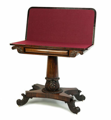 Antique / William Iv Rosewood Card Table Circa 1835 / Games Table
