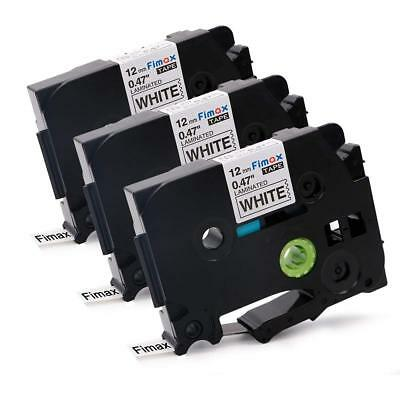 3PK Label maker Tape compatible brother TZe 231 black on white Laminated 12mm