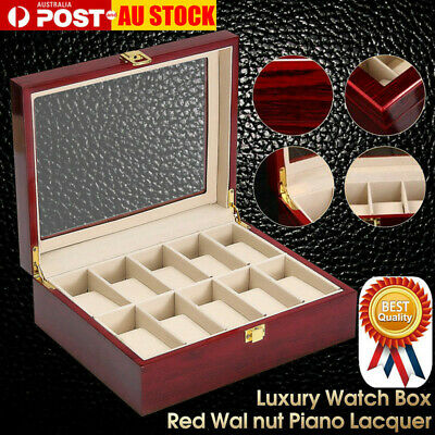 10 Grids Wooden Glass Watch Jewelry Display Case Collection Storage Holder Box