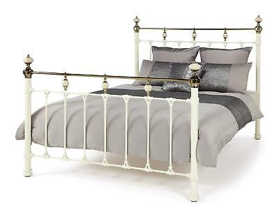 Victorian ornate antique style ivory brass metal bed frame bedstead.Double,King