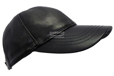 BASEBALL Golf CAP Black REAL LEATHER Classic Stitching 100% REAL LEATHER