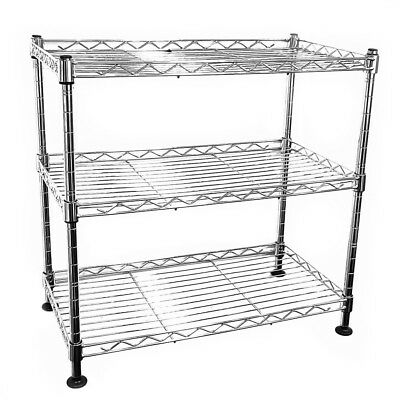 45x45x25cm Real Chrome Wire Rack Metal Steel Kitchen Garage Shelving Racks DCUK