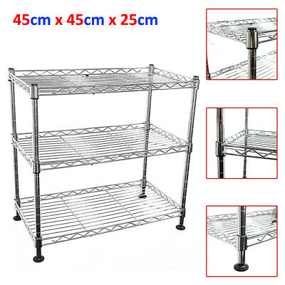 45x45x25cm Real Chrome Wire Rack Metal Steel Kitchen Garage Shelving Racks UKES
