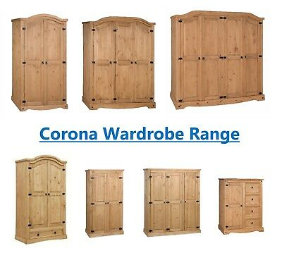Corona Wardrobe 1 2 3 4 Door Drawers Arched Flat Mexican Solid Pine