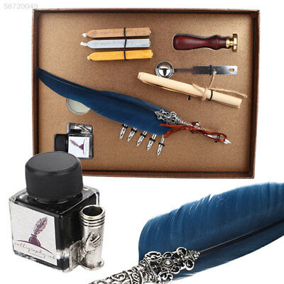 4267 Feather Writing Ink Set Quill Dip Pen Fountain Pen Handmade Quill Box Suit