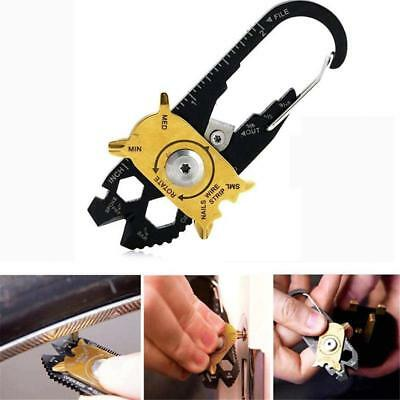 20 in 1 EDC Stainless Steel Screwdriver Wrench Survival Keychain Pocket Tool Kit