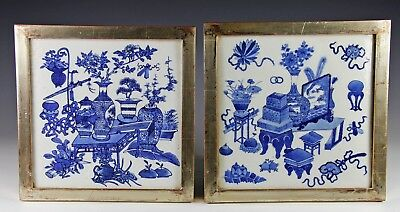 Superb Pair Of Antique Chinese Blue White Porcelain Tiles Plaques W Vessels #1