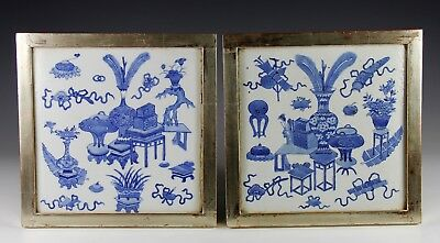 Superb Pair Of Antique Chinese Blue White Porcelain Tiles Plaques W Vessels #3