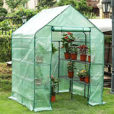 "Portable Outdoor Mini Garden Walk-In Greenhouse, 56"" L x 56"" W x 76"" H, 3 Tiers"