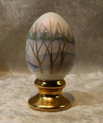 Beautiful Handpainted & Signed by the Artist Fenton Glass Egg - Winter Scene
